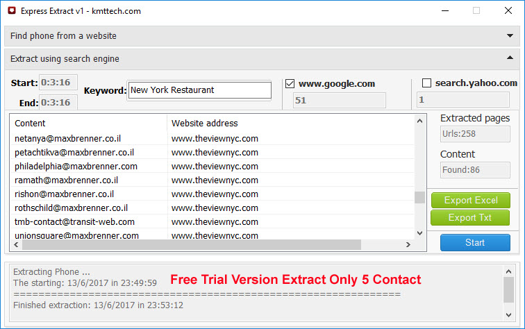 Extract Phone Numbers & Email Address from Websites and Internet